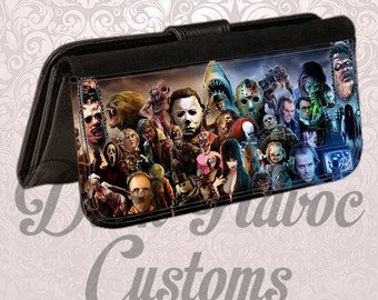 Womens wallet halloween horror monster leather bifold wallet . Holds checkbook and plenty of card space. Great gift for any occasion