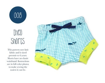 008 Theo Shorts PDF Sewing Pattern Baby Boy Girl Kid Knit Diaper Cover Shorties Preemie- 6T Sadi & Sam