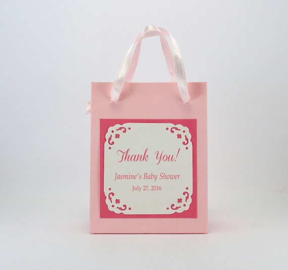 baby shower favor bags with a printed label personalized baby shower