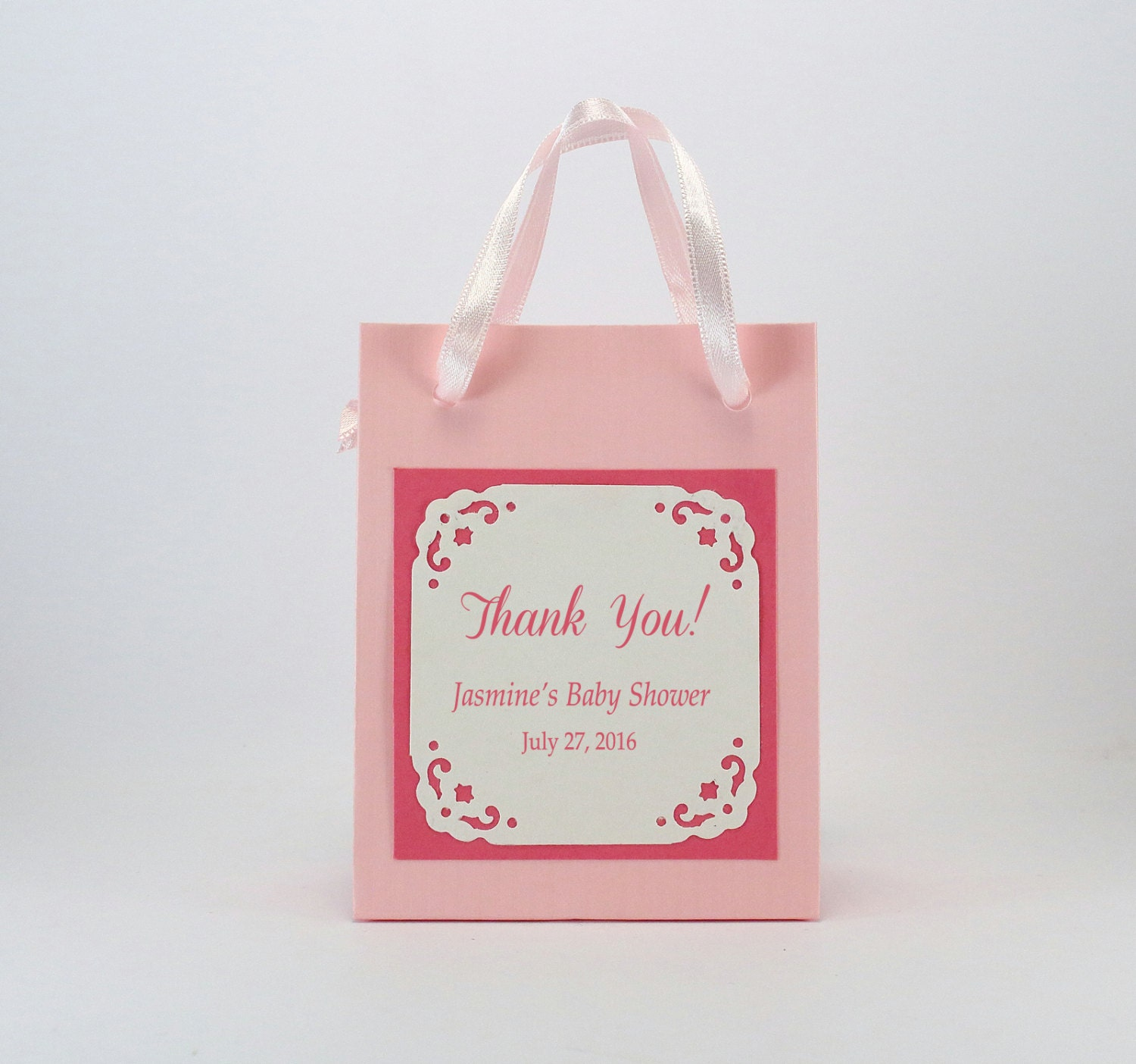 10 baby shower favor bags with a printed label personalized