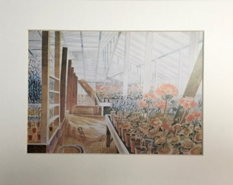 "Vintage Eric Ravilious Art Print ""Geraniums and Carnations"" Beautifully Matted & Mounted"
