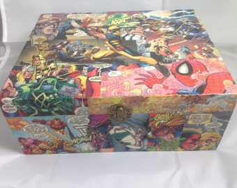 Superhero Marvel Comic Book Decoupaged Box, Unique and One of a Kind.