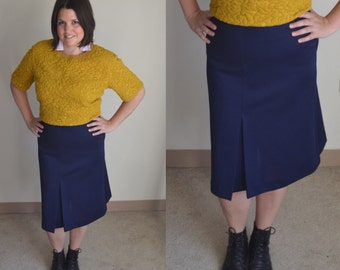 SALE - Vintage Stretch Navy Skirt