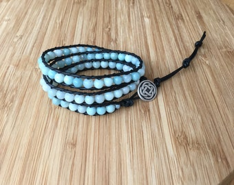 CatMar Beaded Blue Amazonite Wrist Wrap Bracelet with Black Greek Leather Cord and Antique Silver Button