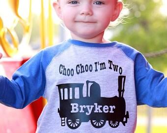 Choo choo train birthday shirt, train t-shirt, train shirt, train birthday party, choo choo train party, choo choo I'm two, train birthday