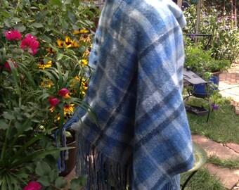 Handwoven Wool Shawl, Fine Wool Mohair Shawl, Blue Wool Wrap, Throw, Plaid Shades of Blue Wrap, Handwoven Blue  Throw, Plaid Wrap,