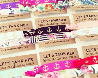 ASSORTED Nautical Bachelorette Hair Tie Favors | Floral + Anchor Nautical Hair Tie Favors, Gold Anchor + Floral Bachelorette Party Favor