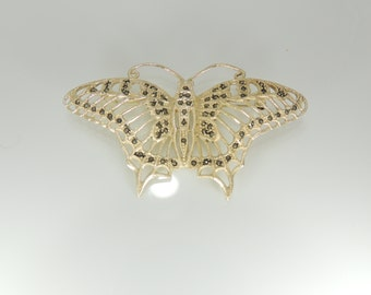 SILVER Gold Over Sterling Silver Marcasite Filigree Butterfly Vintage Beautiful