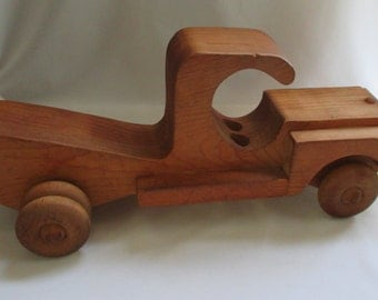 Large Vintage HandCrafted Wooden Toy Truck ~ Unique Artistic Shape ~ Folk Art