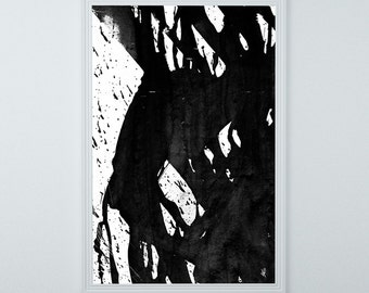 Black and White Abstract Painting, Giclée print, Art Print, Black Wall Art-Large-Brushstrokes