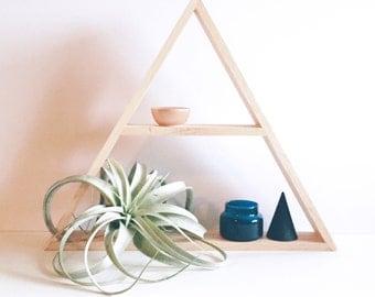 Stained Oak Wood Geometric Shelving, Oak Wood Shelves, Modern Shelving, Minimal Design Shelves, Geometric Shelf