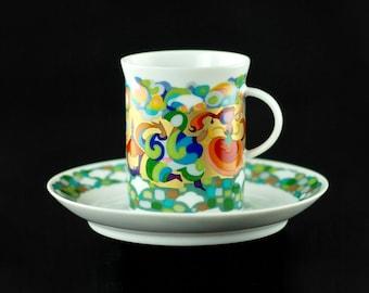 Vintage Bjorn Winblad designed Rosenthal Studio Linie Petruschka Pattern Espresso Sammeltasse Cup