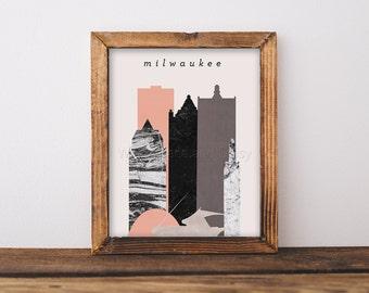 Milwaukee Skyline Art Milwaukee Art Milwaukee Map Milwaukee Print Milwaukee Poster Milwaukee Printable Wall Art Milwaukee Postcard