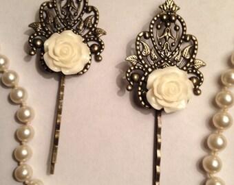 White Rose Filigree Hairpins