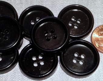 "8 Shiny Concave 4-hole Black Plastic Buttons 7/8"" 23mm # 7757"