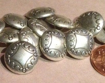 """Lot of 12 Silver Tone Metal Buttons 9/16"""" 15mm # 7435"""