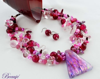 Pink Necklace- Jewellery-Semi Precious-Gemstone-Necklace & Earrings-Handmade-Beauje-Designer-Jewelry-Dichroic-Beaded-Statement necklace