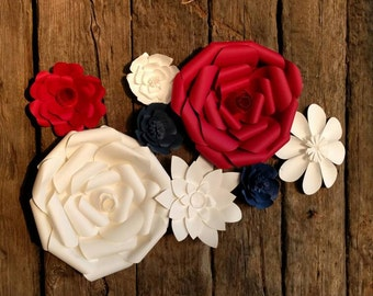 8 Giant Paper Flowers 15-40cm diameters in red white and blue for wedding decor or photo booth backdrop.  Ready made and in stock. 706-005