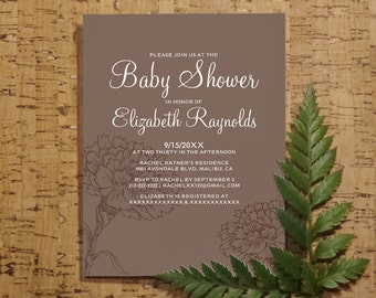 Modern Mocha Baby Shower Invitation Template| Boy Girl Baby Shower Invitations | Baby Shower Invites | Printable, Digital PDF, DIY Printed