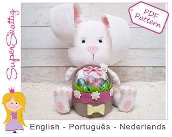 Felt pattern Bunny Beau, softie pattern Easter Bunny, plush pattern rabbit, pdf sewing pattern by Superskattig