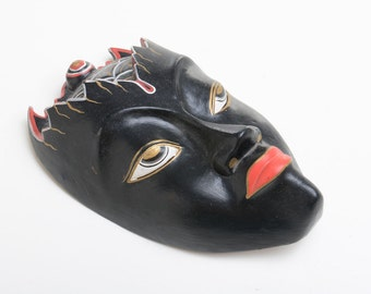 mask, wall decor, wall hanging, Wooden Asian mask, wall decor Asian art, hand made wood carving head