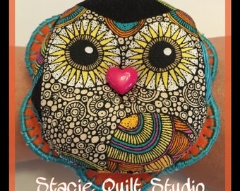Wrist Pin Cushion - Hoot Owl Orange