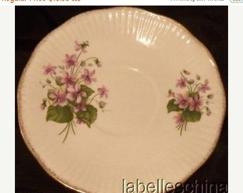 Discounted 35% Free Ship Queen's Rosina Centenary Pear / Violets Orphan Teacup Saucer