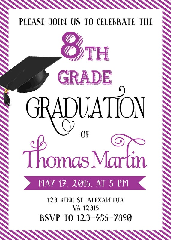 8th Grade Graduation invite Printable graduation invitation – 8th Grade Graduation Invitations