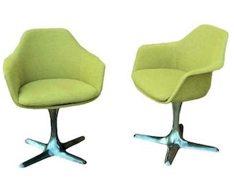 Pair of Upholstered Swivel Burke Lounge Chairs