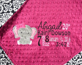 Personalized Baby Blanket, Minky Blanket, Personalized Birth Stats Blanket, Baby Blanket, Elephant Blanket, Choose your Colors, Choose Your