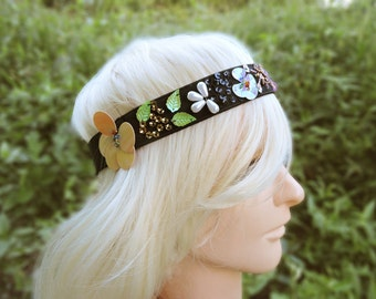 Headband with  Sequin Embellished Flower