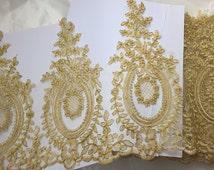 Gold Lace Trim, Golden Alencon Lace Trim, Gold Corded Lace Trim, Sell By Yard (AL146)