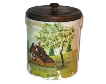 Vintage Stoneware Crock, Hand Painted Crock, Cabin Crock, Home Decor, Canister Crock, Vintage Crock, Storage Crock, Lidded Crock, Stoneware
