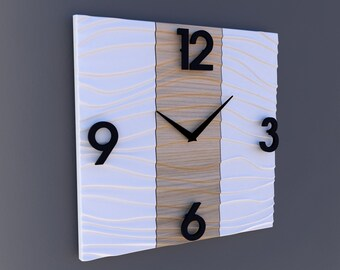 Sculpted Modern Wall clock in Wood and White Solide Surface
