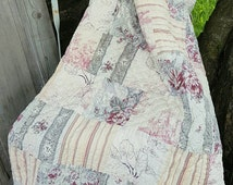 Beautiful Vintage Chic Shabby French Quilted Patchwork Throw / Boutis / Quilt -Gorgeous Toiles & Florals for Vintage Bed Dressing!