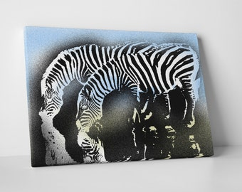 Who Art Now 'Zebras Drinking' Gallery Wrapped Canvas Print