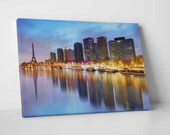 Paris France Downtown Night Skyline Gallery Wrapped Canvas Print