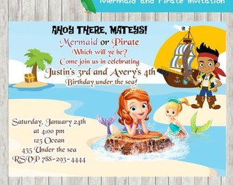 20%OFF Mermaid and Pirate Invitation-Sofia the first-Jake and the Neverland Invitation-Pirates Birthday Party Invitation Pajamas