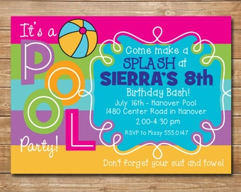 Girls Pool Party Invitation - Pool Party Birthday Invitation - Summer Birthday Invitation - Pool Party Invite - DIY Printable Invitation