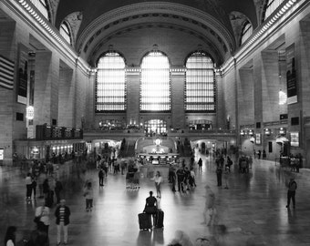 New York Black and White Print, Grand Central Station, New York City Photography, Train Station, NYC, New York Art, Office Decor, Wall Art