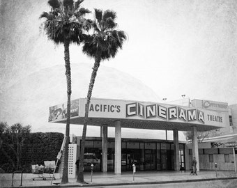 Los Angeles Photography, Hollywood, Cinerama Dome, Sunset Boulevard, Movie theater, Black and White, Retro, Fine Art Print, Wall Art