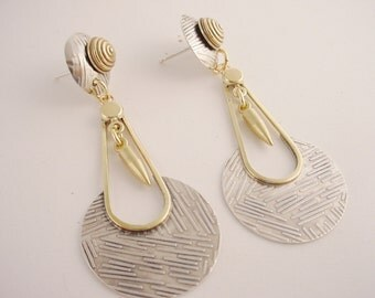 Textured Sterling Round Earrings Hanging Disks Sterling and Brass Modern Exotic Boho Post Earrings