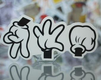Paper Scissor Rock Glove Semi Transparent Glossy Skateboard Sticker_009