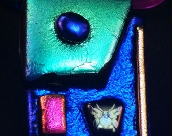 Handcrafted, Clear Dichroic, Multi Colored Dichroic on Black, Fused, Art Glass, Dichroic Pendant