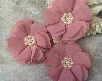 Dusty pink flower, chiffon flower, pearl flower, fabric flower, headband flower, supply flower, ballerina flower