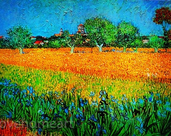 View of Arles with Irises- Vincent van Gogh View of Arles with Irises hand-painted oil painting reproduction for home decor wall art or gift