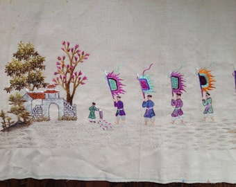 Silk Embroidered Chinese banner or wall hanging