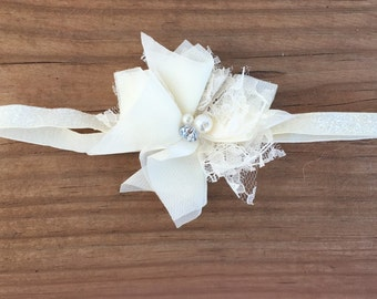 Ivory Lace and Pearl Girls Headband