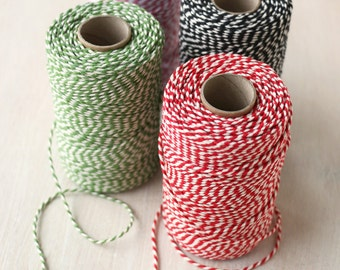 Cotton Bakers Twine - red, green, black or pink | 100 metre roll candy stripe.