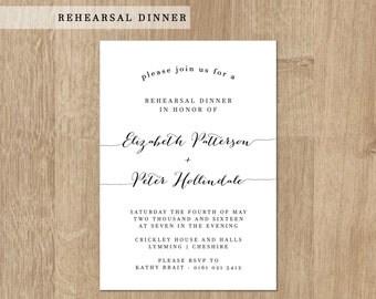 Printable Wedding Rehearsal Dinner - Rehearsal Dinner Invitation - Printable Wedding Invitation - French Collection -